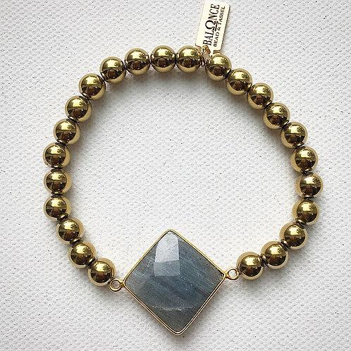 Golden Hematite and Square Labradorite Bracelet