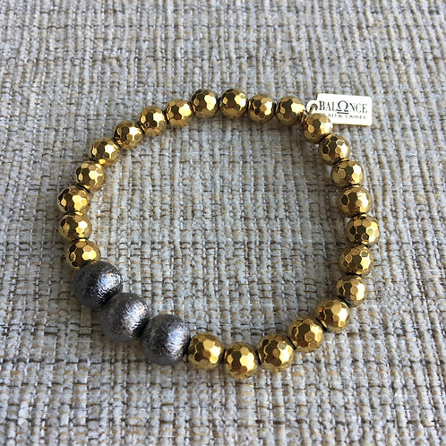 Gold Hematite Mixed Metal Bracelet