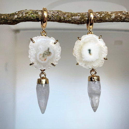 Solar Quartz Spike Huggie Earrings