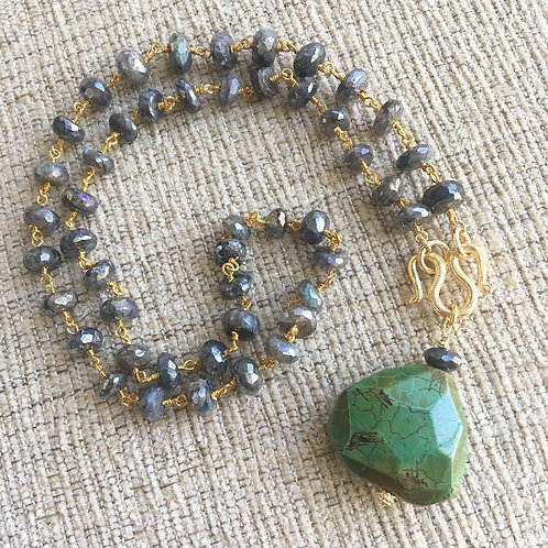 Signature Necklace in Labradorite & Fire Agate