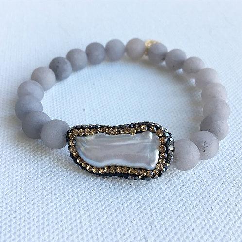 Matte Gray Jade & Gold Crystal Freshwater Pearl Bracelet