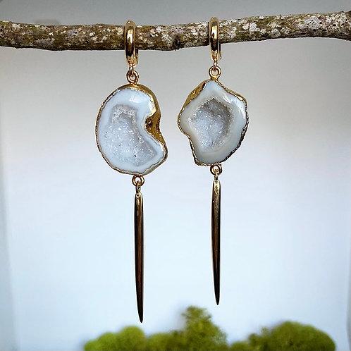 Geode Huggie Spike Earrings