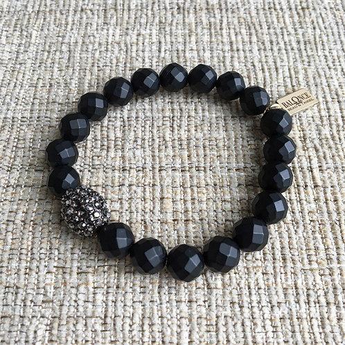 Matte Black Hematite & Crystal Bracelet