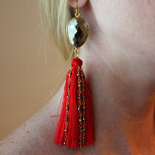 Pyrite & Red Silk Tassel Earrings