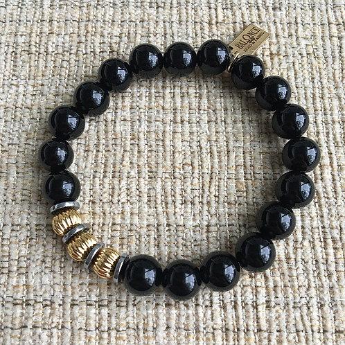 Black Onyx & Mixed Metal Bracelet