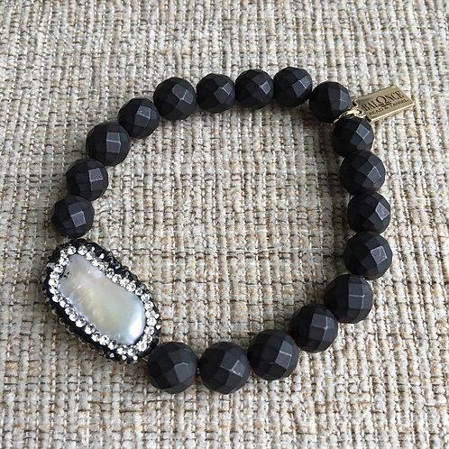 Matte Black Hematite Pearl Bracelet
