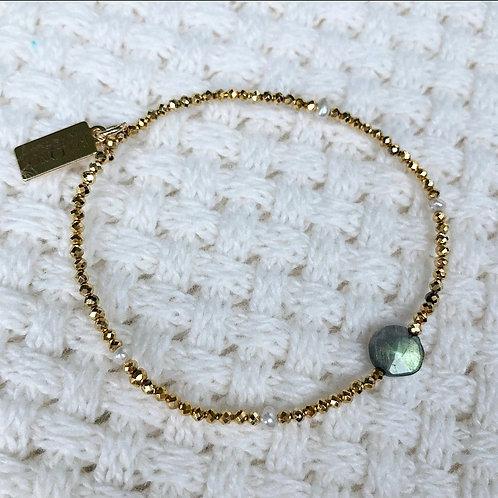 Golden Pyrite, Pearl & Labradorite Bracelet