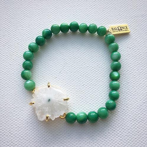 Green Cat's Eye & Solar Quartz Bracelet
