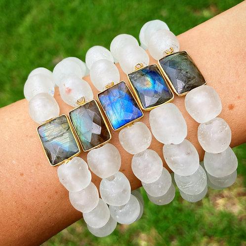 Sea Glass & Labradorite Bracelet