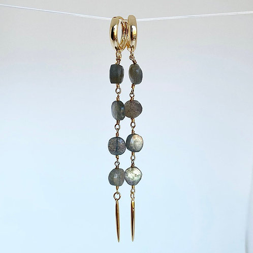 Labradorite Spike Huggie Earrings