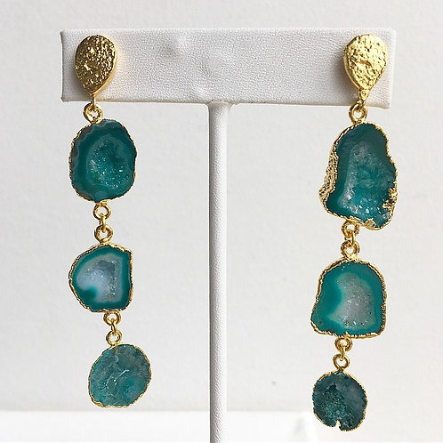 Triple Emerald Green Geode Earrings