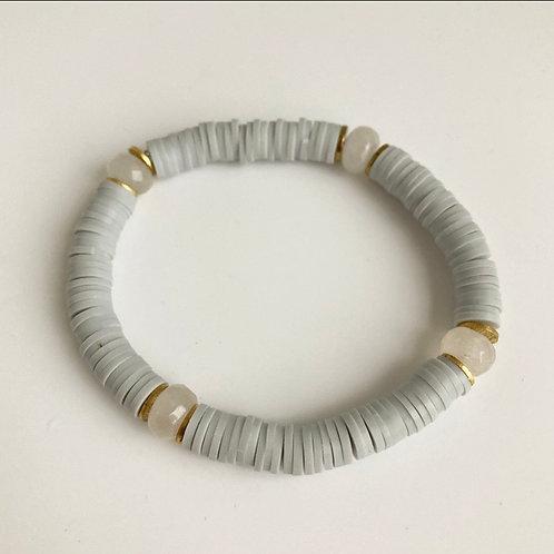 Light Gray Vinyl & Agate Bracelet