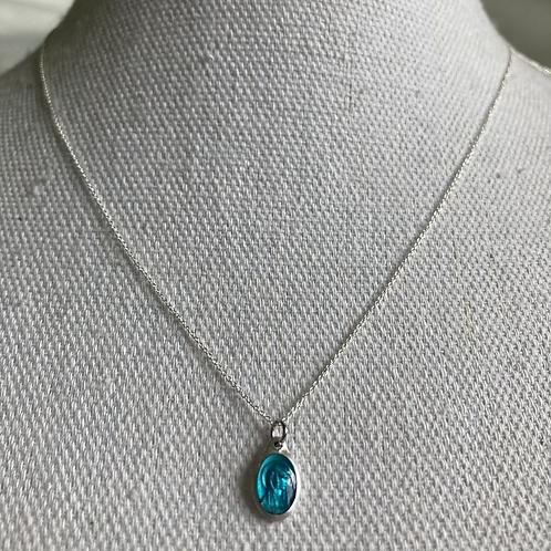 Sterling Vintage Emerald Enamel Necklace