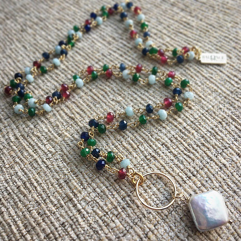 Emerald, Ruby, Sapphire and Pearl Necklace