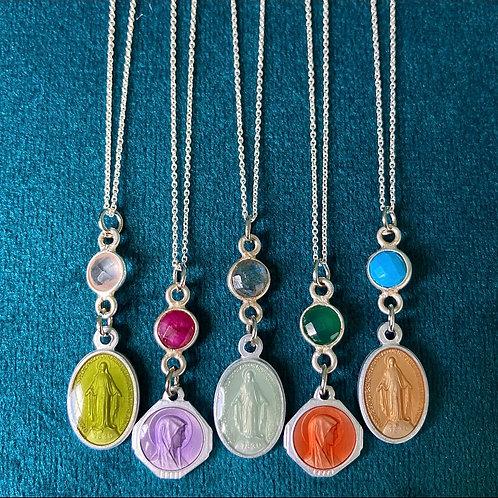 Sterling Silver Gem & Vintage Medal Necklace