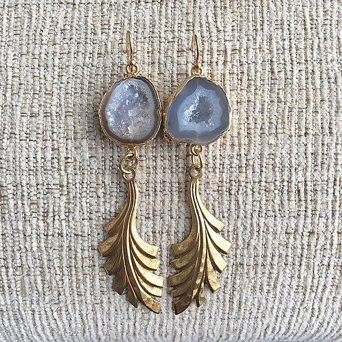 Gray Geode Deco Earrings