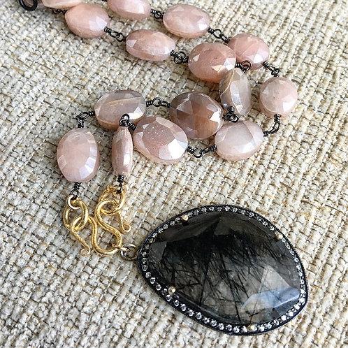 Signature Necklace in Peach Moonstone and Rutile Quartz