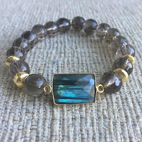 Labradorite & Smokey Quartz Bracelet