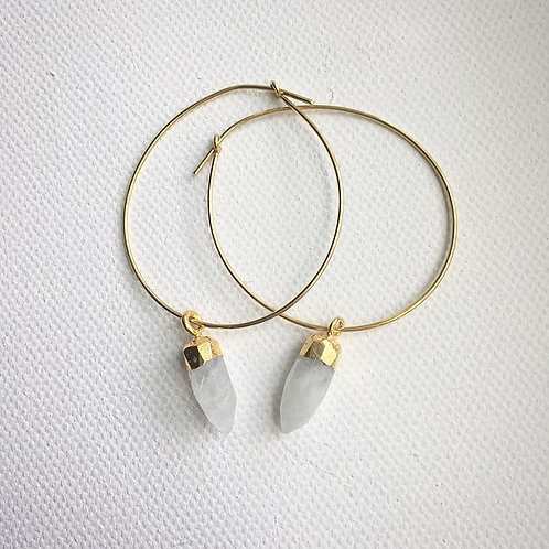 Classy Moonstone Spike Hoop Earrings