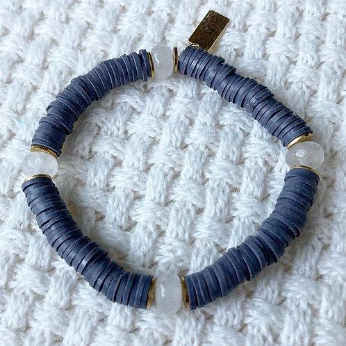 Dark Gray Vinyl & Agate Bracelet