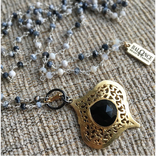 Dendrite Opal & Black Onyx Necklace