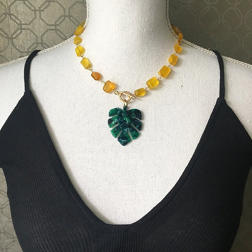Yellow Chalcedony Tropical Statement Necklace