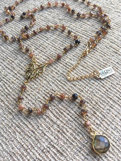 Chocolate Moonstone & Labradorite Lariat Necklace