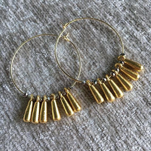 Golden Drops Hoop Earrings