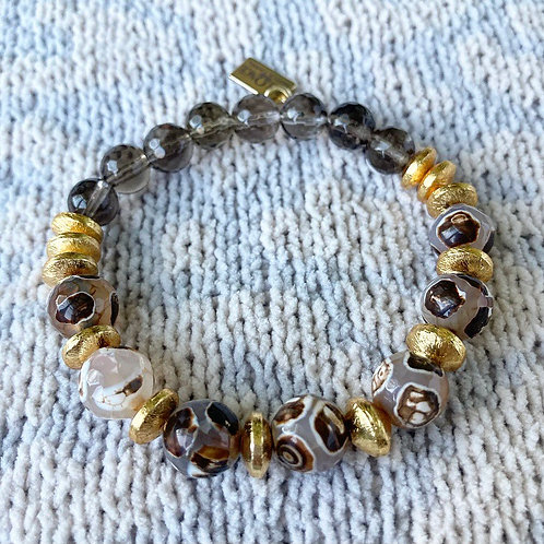 Turtleback Agate & Smokey Quartz Bracelet