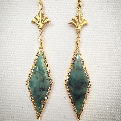 Emerald Fleur•de•lis Earrings