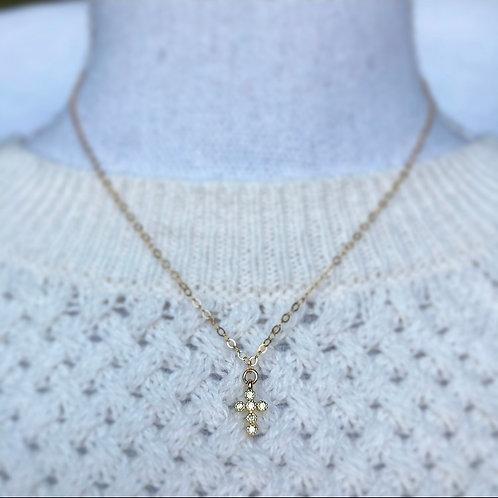 Vermeil Gold CZ Cross Necklace