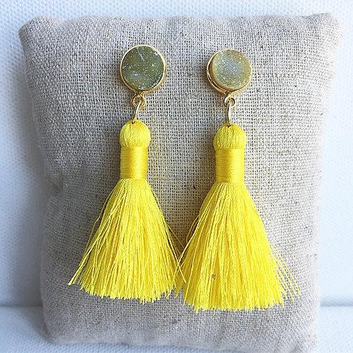 Yellow Druzy Tassel Earrings