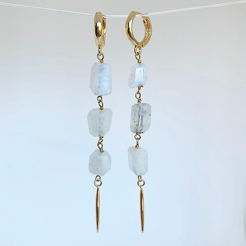 Rainbow Moonstone Spike Earrings