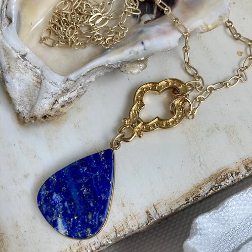 Matte Gold & Lapis Necklace