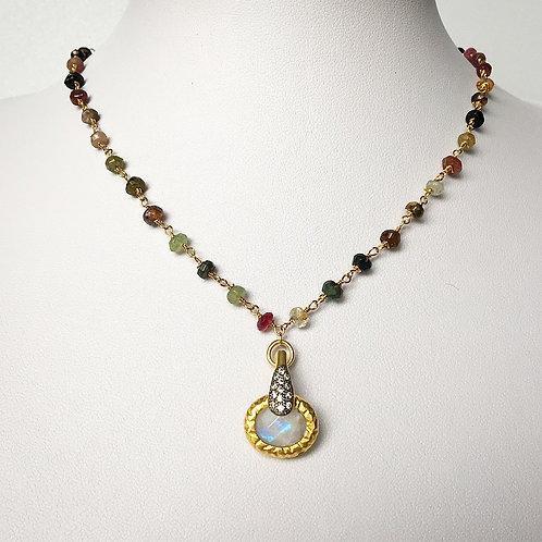 Multi Color Tourmaline & Moonstone Necklace