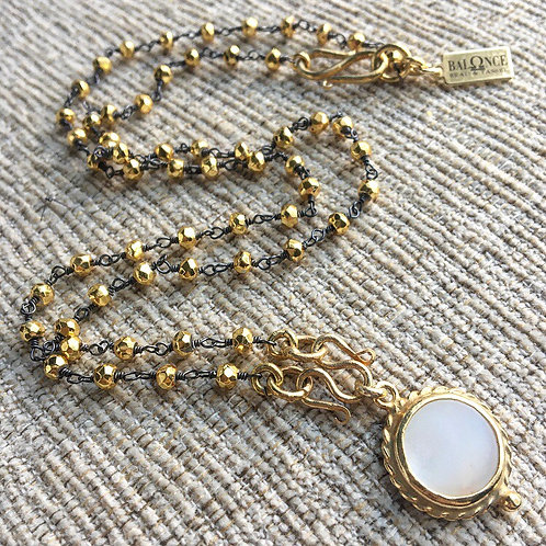 Golden Pyrite & Mother of Pearl Signature Necklace