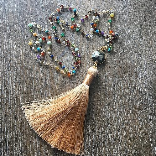 Multi-Gemstone & Pyrite Tassel Necklace