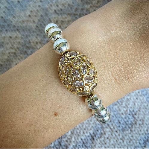 Silver Hematite Polki Bracelet