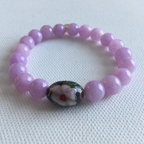 Lavender Jade & Cloisonné Bracelet