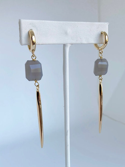 Gray Chalcedony Spike Earrings
