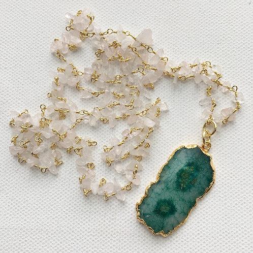 Moonstone & Green Solar Quartz Necklace
