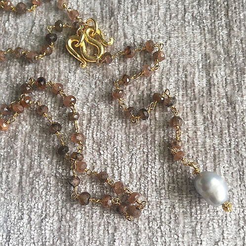 Chocolate Moonstone & Baroque Pearl Lariat Necklace