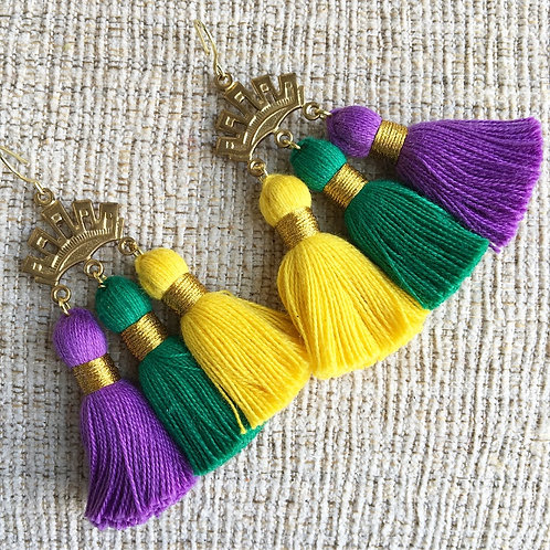 Triple Crown Tassel Earrings