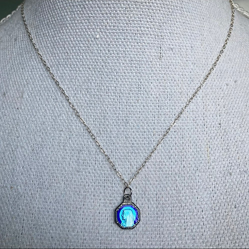 Vintage Enameled Our Lady of Lourdes Necklace