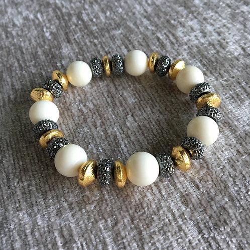 White Coral Mixed Metal Bracelet