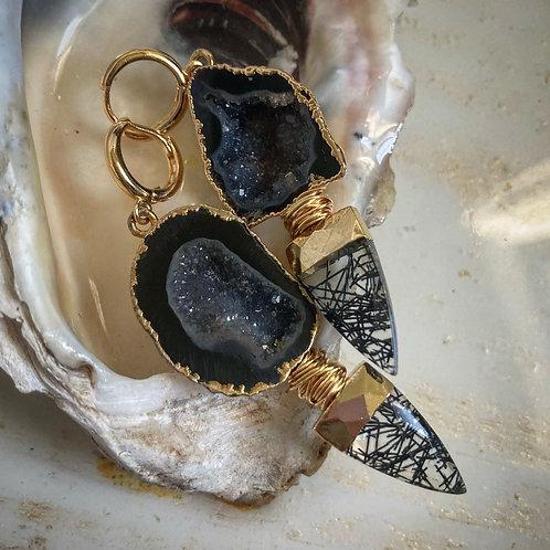 Black Geode Huggie Earring