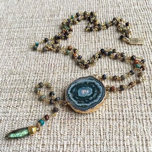 Chrysocolla & Amethyst Stalactite Lariat Necklace