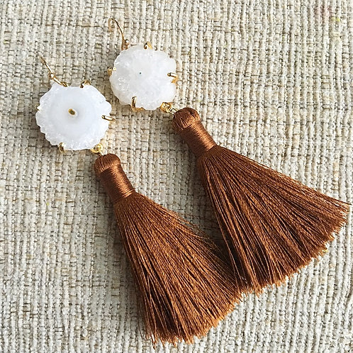 Cinnamon Solar Quartz Tassel Earrings