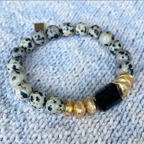 Dalmatian Jasper & Onyx Bracelet
