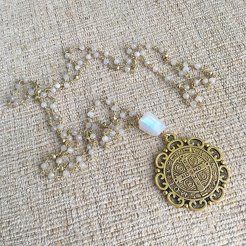 Mystic Moonstone St. Benedict Necklace